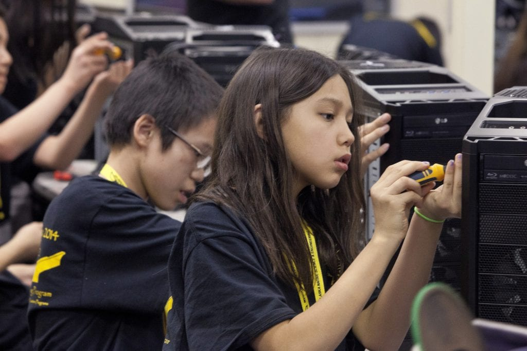 Students participate in the Alaska Native Science and Engineering Program (ANSEP) Middle School Academy