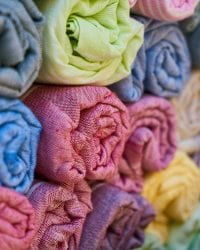stack of dyed fabric